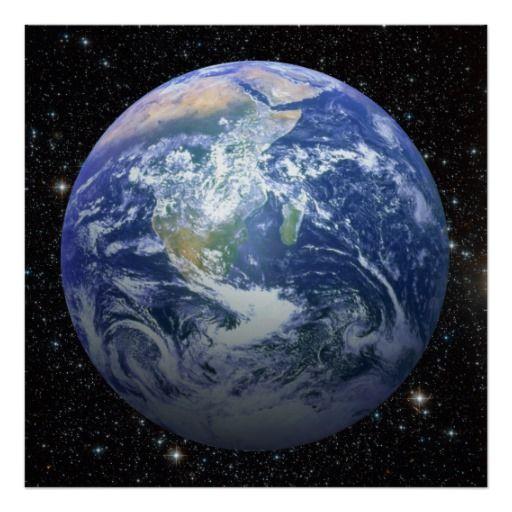 3D effet - la terre parmi les étoiles Affiches