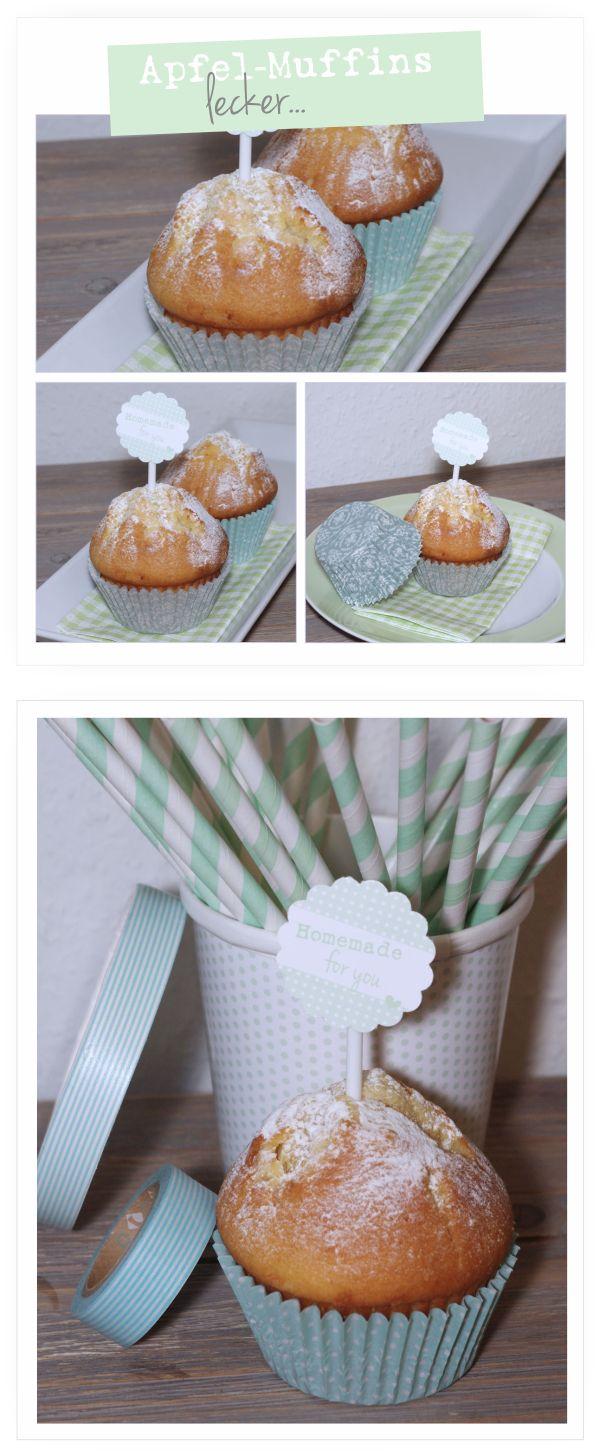 kukuwaja: Buttermilch Apfel-Muffins im mintfarbenen Kleidchen