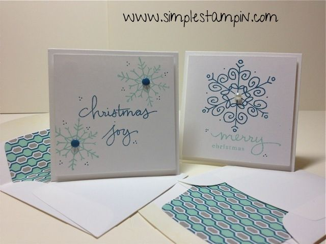 3 x 3s with the clear stamps and envelope liners. Cute. Stampin' Up!