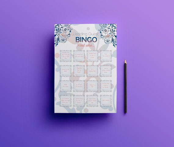 Wedding bingo, wedding guest games, reception games, icebreaker for guests, wedding games, reception activity, wedding games for guests