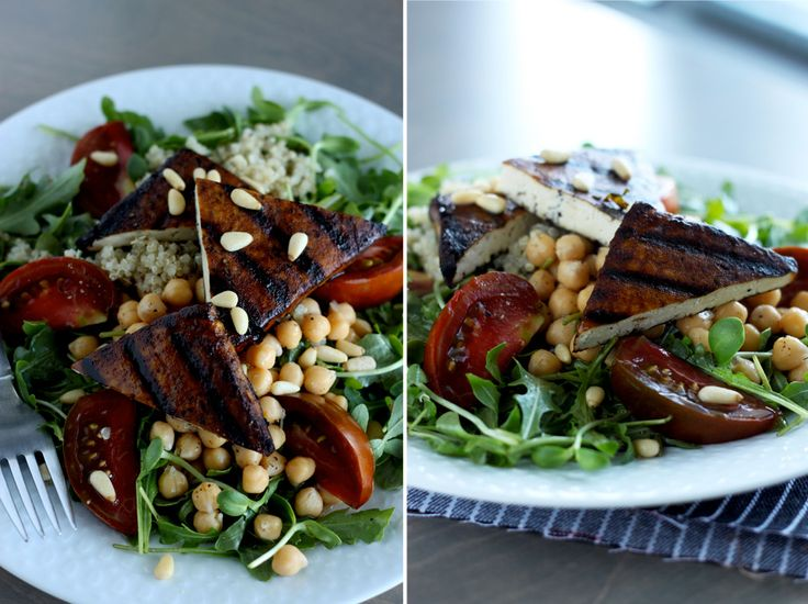 high protein salad with balsamic grilled tofu // The First Mess