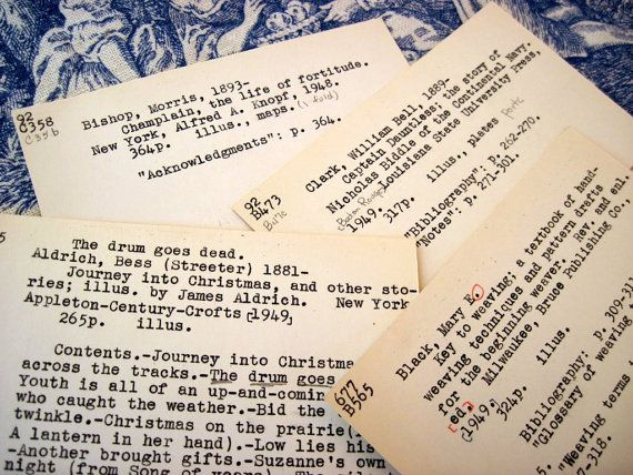 vintage library catalog cards can be cut into bookmarks and given to guests as mementos.
