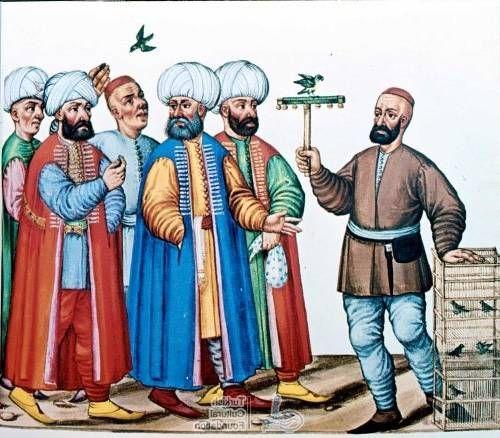 trained birds I Turchi. Codex Vindobonensis 8626