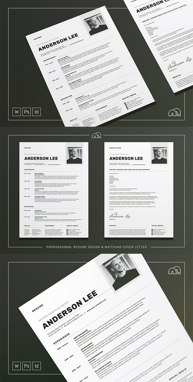Professional Resume/CV / Cover letter template. For those looking for a professional template, 'Anderson' offers a skillfully​ crafted design, plus matching cover letter (including sample letter) for a complete presentation. #resume #cv #template