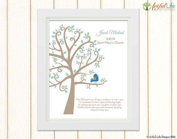 Baptism Tree Print Baby Boy Baptism Gift by ArtfulLifeDesigns