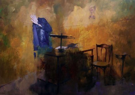 Szabolcs Szolnoki, Interrogation, 100x140cm, acryl, oil, canvas, 2013