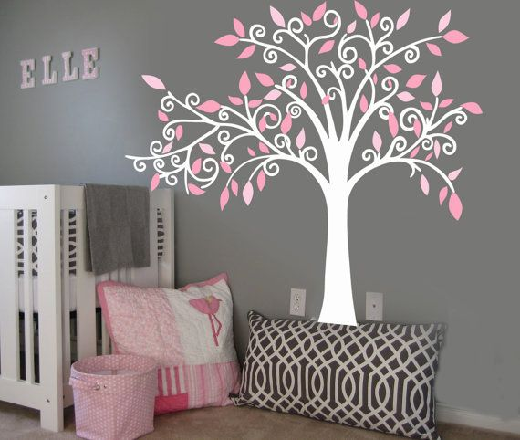 Vinyl Wall Decal Sticker Curl Tree Boy or Girl by missymoovinyl