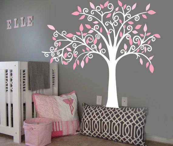 Vinyl Wall Decal Sticker Curl Tree Boy or Girl by missymoovinyl