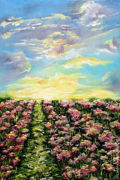 """""""Насыщенность. Краски, ароматы и простор"""", картина масло, закат, цветы -"""