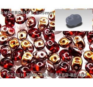20gr Czech Two-Hole Seed Beads SuperDuo 2.5x5mm Ruby Capri Gold AB