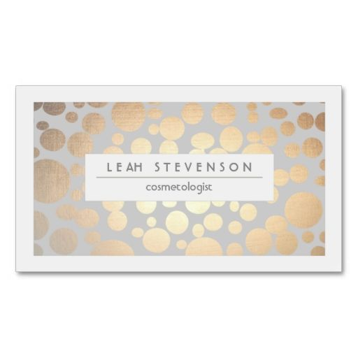 Elegant Faux Gold Foil Cosmetologist Salon and Spa Business Cards. This great business card design is available for customization. All text style, colors, sizes can be modified to fit your needs. Just click the image to learn more!