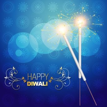 Vector happy Diwali Beautiful typography with Fire crackers on cultural hindu blue background pattern design greeting card template illustration