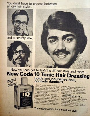 Code 10 Tonic for Hair Dressing, 1978. Join us at http://www.turtok.com/: Codes 10, Vintage Prints, Hair Dressing, Zon Hoofd, Tonic Hair, Hair Dresses, Prints Ads, 10 Tonic, Vintage Bollywood