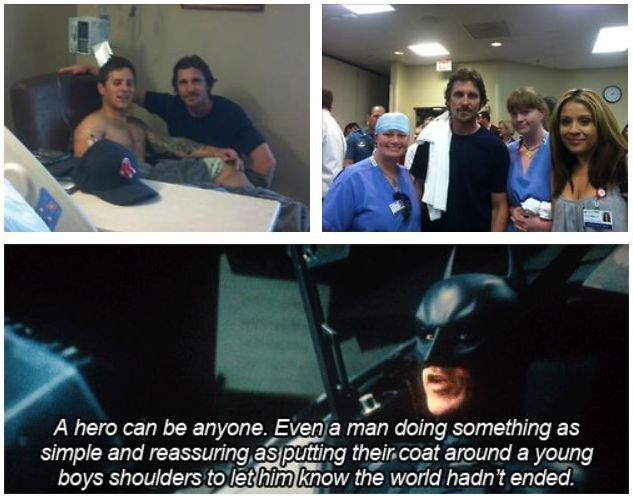 This warms my heart: Bale Visit, Christian Bale, Young Boys, Awesome, Funny Pictures, Faith In Human, Quote, Human Restoration, Dark Knights