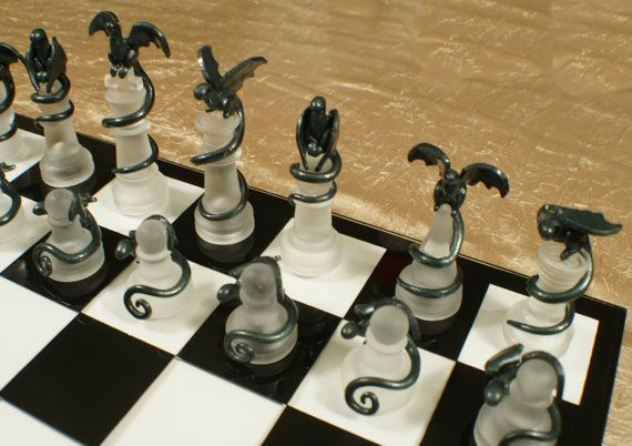 Epic Dragon Chess Set - Glass Board, Polymer Clay Dragons, Handmade, Slate and Silver by DragonJeweleryArt on Etsy