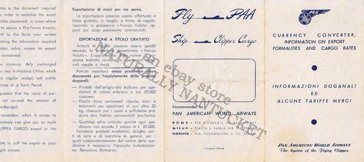 Pan Am Currency Converter - Italian Lira & US Dollar Cargo Rates (1944-1957) | eBay