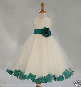 IVORY FLOWER GIRL DRESS PAGEANT WEDDING BRIDESMAID DANCE PARTY 12-18M 2 4 6 8 10   eBay