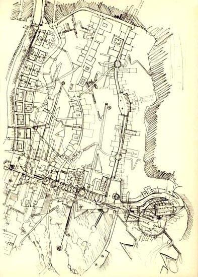 La città ideale, drawing of Leonardo Savioli, 1943