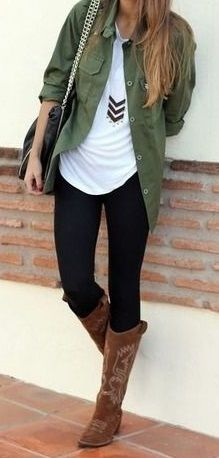 army green jacket, white loose top, jeans and tall riding boots... relaxed, casual style for fall