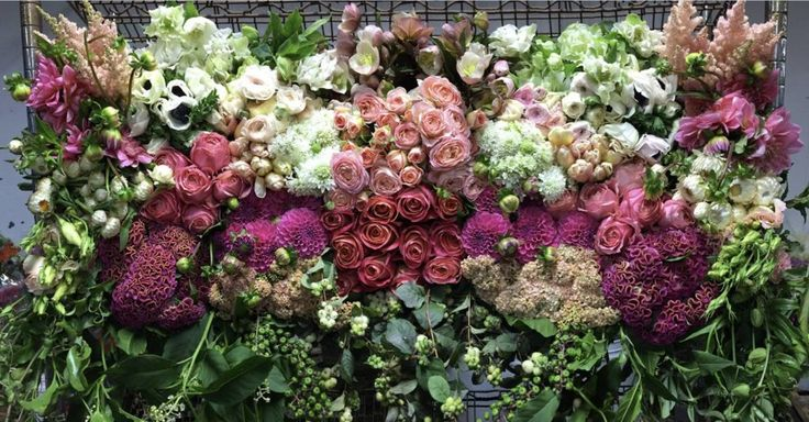 Mayesh Flower Pull ::: A Feminine Palette of White, Coral, Shades of Pink, and Peach :::  Giant coxcomb, dahlias, garden roses, anemones, scabiosa, astilbe, garden spray roses, with other loose and delicate textures!  :: AUGUST ::