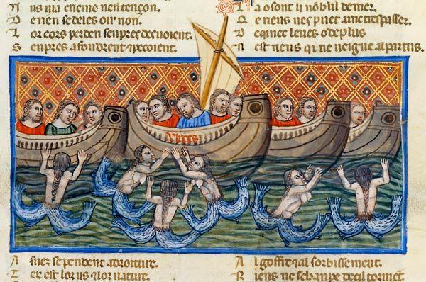 Ulysse séduit par les sirènes Benoît de Sainte-Maure, Le Roman de Troie Venise ou Padoue, vers 1340-1350. BnF, Manuscrits, Français 782 fol....