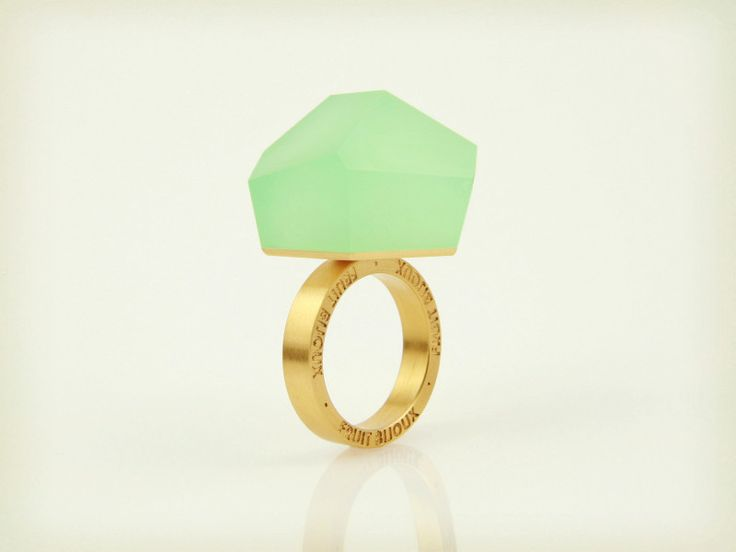 Fruit Bijoux, VU, gold ring, mint green. To download high or low resolution product images view Mondrianista.com (editorial use only).