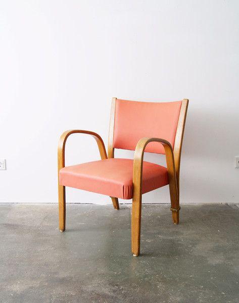 Vintage Stühle - Hugues Steiner Bow Wood Chair, 50er Sessel rot - ein Designerstück von mele-pele bei DaWanda