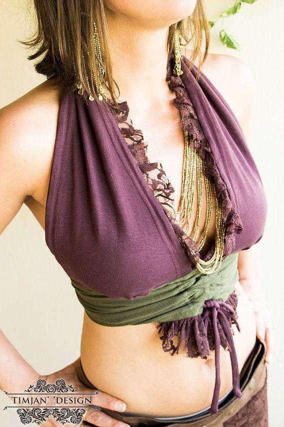 CARMINE BRA TOP - Organic Burlesque tribal belly dance faery fairy pixie hippie boho elf costume Burning Man - Purple Green