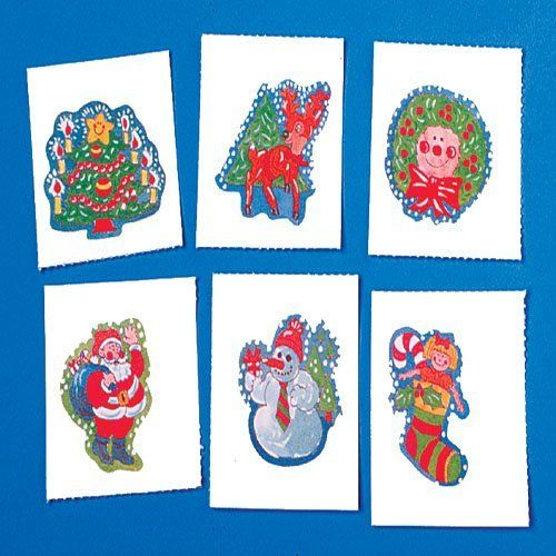 """Christmas Tattoos by US Toy Company. $14.99. 144 Pieces. Apply this Christmas themed temporary tattoo with water and rub off.  Assorted designs. Size is 1-1/2 Sq. F.D.A. approved. U.S. Toy Exclusive!"""""""