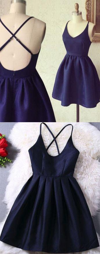 Dark Blue Dresses,Criss-Cross Straps Dresses,Homecoming Dresses 2017