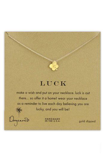 Dogeared 'Luck' Clover Pendant NecklacePendant Necklace, Boxes Clovers, Pendants Necklaces, Dogeared Luck, Delicate, Clovers Pendant, Clovers Necklaces, Necklaces 59, Luck Clovers