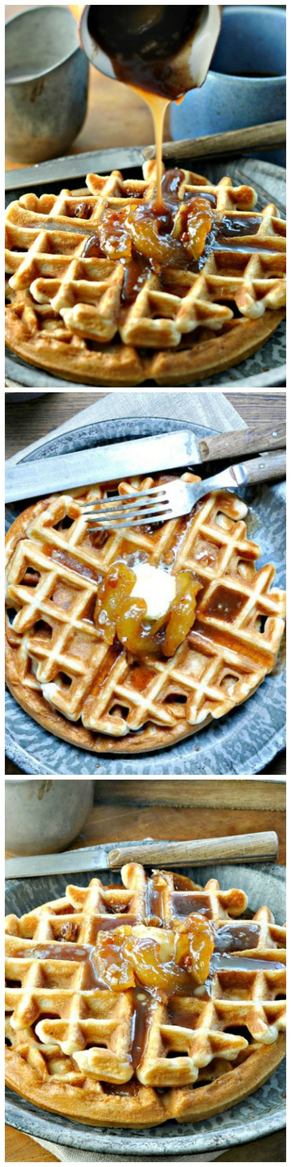 Apple Pecan Waffles with Apple Pecan Topping - These #waffles are perfect for #Fall and full of sweet comfort!