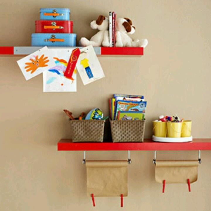Kids craft shelves