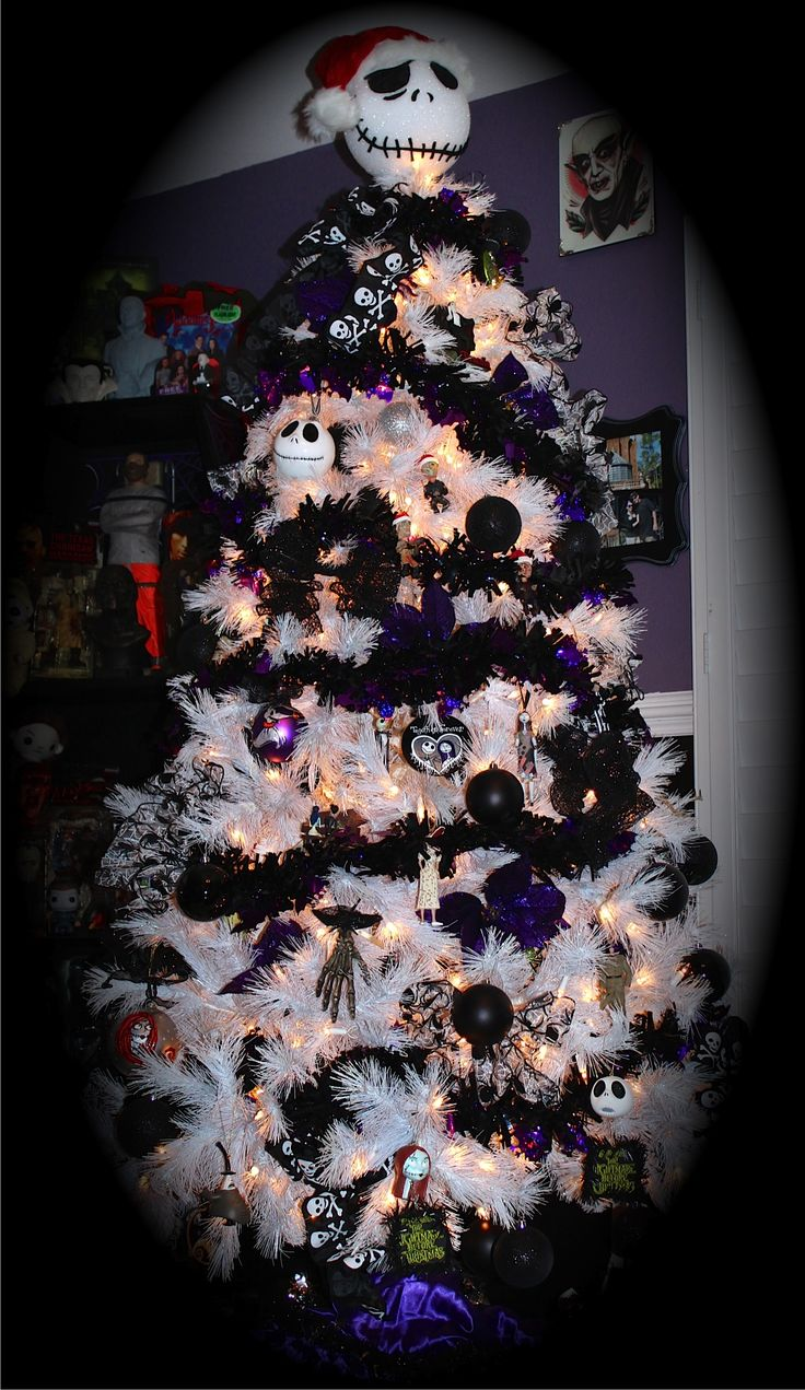 halloween goth spooky black christmas nightmare before christmas tree - Halloween Christmas Decorations