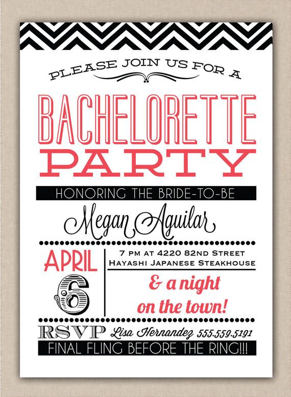 Old Fashioned Bachelorette Invitation - With or without chevron