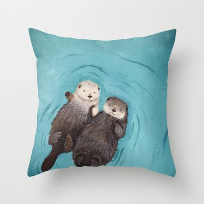 Otterly Romantic - Otters Holding Hands Throw Pillow by When Guinea Pigs Fly - $20.00