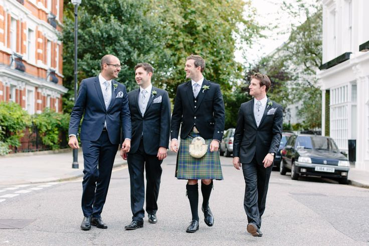 Groom in Kilt | Charlie Brear Satin Haliton Dress & Lace Augustine Jacket | Brunswick House London | Grey Virgos Lounge Bridesmaid Dresses | White Bouquet | Tartan Kilt | Camilla Arnold Photography | http://www.rockmywedding.co.uk/janey-tom/