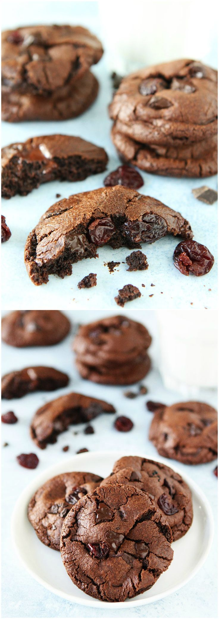 Chocolate Cherry Cookies Recipe on twopeasandtheirpod.com Rich chocolate cookies with chocolate chunks and dried cherries. These cookies are heavenly!