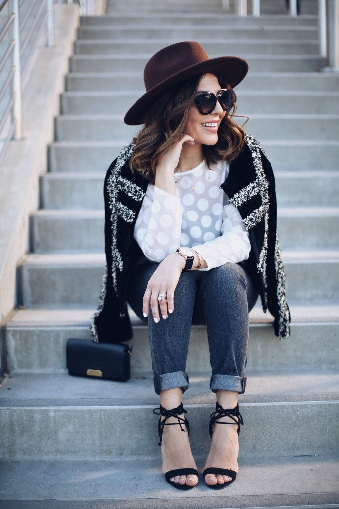Simply Sona spring outfits polka dot shirt with clutch bag