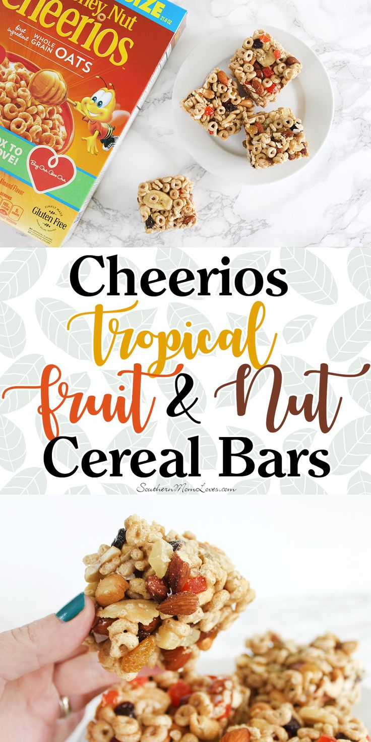 These #Cheerios cereal bars are stuffed with good-for-you tropical dried fruits and nuts that only take about 10 minutes to make. These sweet and slightly salty bars are great as a breakfast bar or an on-the-go snack and will keep you going all day. #GetOneGiveOne #WithLove @walmart  [ad]