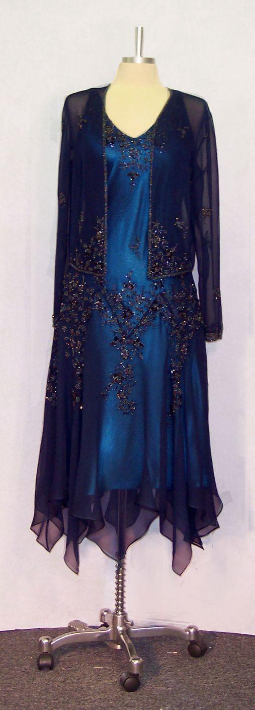 mother of the groom blue dresses | ... Tea Length Dresses for the Mother of Bride and Groom - MIDNITE BLUE