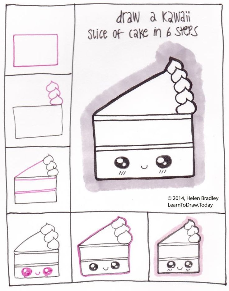 How to draw a kawaii piece of cake! Lol!