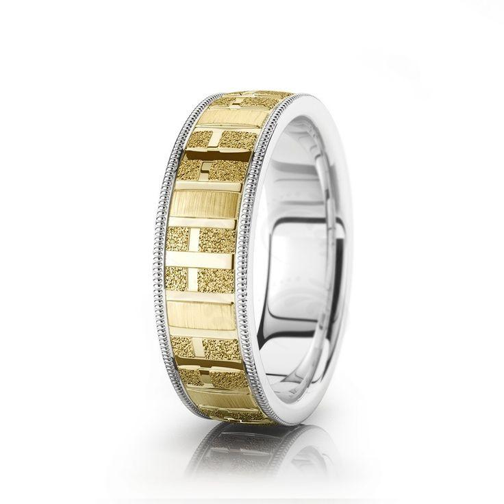 Stoned Cross Diamond Cut Religious Wedding Ring
