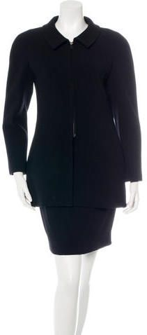 Chanel Wool Zip-Front Skirt Suit