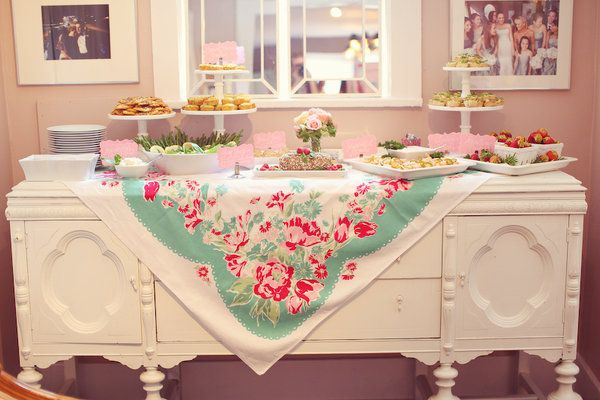 Love this dessert table! Great use of the vintage tablecloth.: Vintage Tables, Vintage Fabrics, Party Idea, Party Inspiration, Teas Party, Desserts Tables, Events Styles, Bridal Showers, Vintage Tablecloths