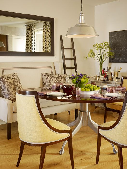 Shades of Yellow with dark wood and other neutrals soften the space, but the metals liven up the room: Modern Dining Rooms, Transitional Dining Rooms, Benches, Dining Rooms Decor, Interiors Design, Kitchens Nooks, Rooms Ideas, San Francisco, Dining Tables