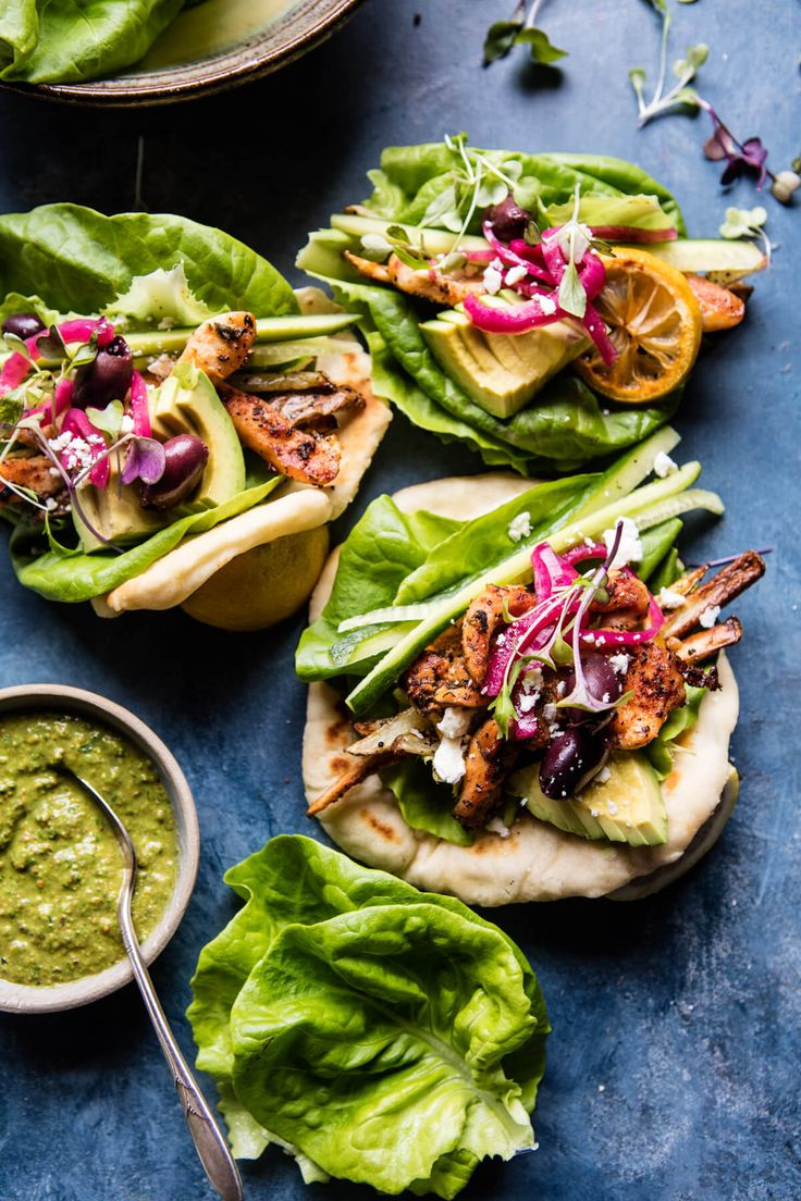 Greek Goddess Chicken Lettuce Wraps - Think of these as a Gyro, but done a little healthier, way prettier, and much simpler...perfect! @halfbakedharvest.com