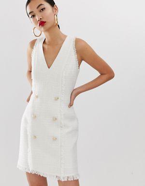 river island boucle shift dress in ivory modestil etuikleid