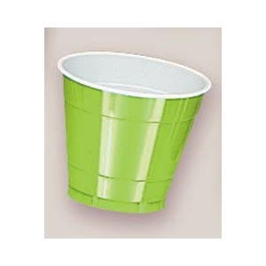 Plastic Kiwi Cups. There are 20 Plastic Cups per package. These 9 ounce cups come in 22 colours to match any theme or event.