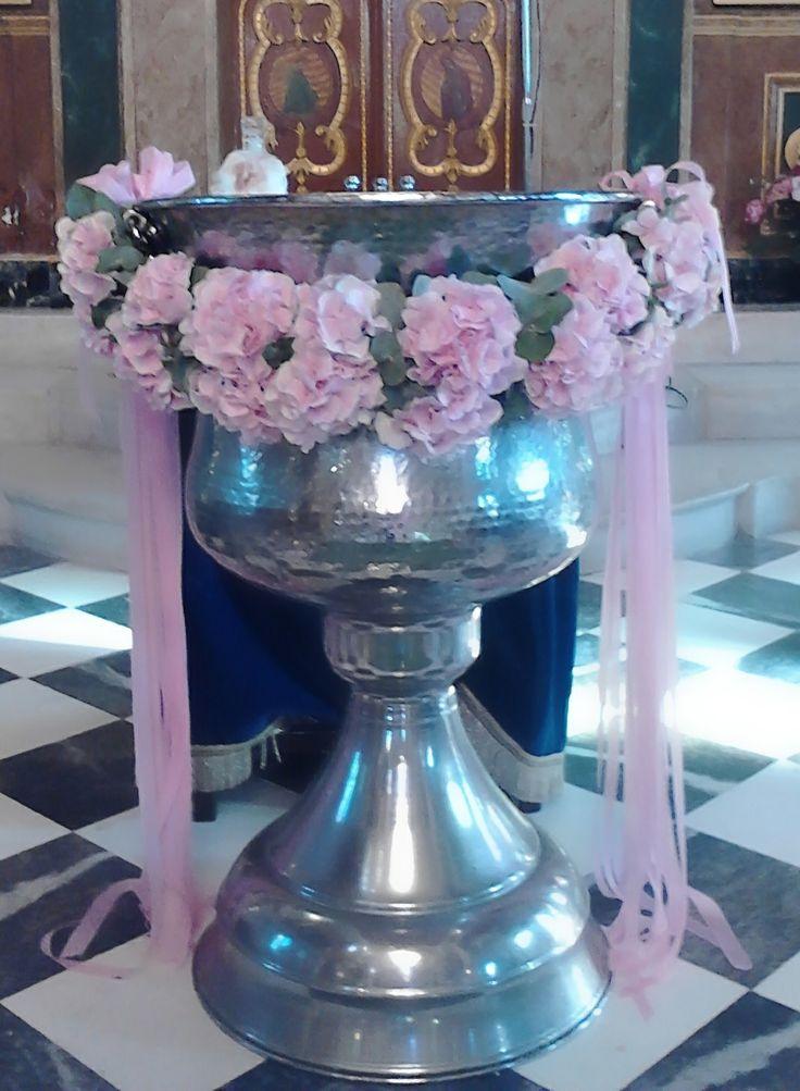 #στολισμος βάπτισης γιρλάντα ορτανσίας ροζ